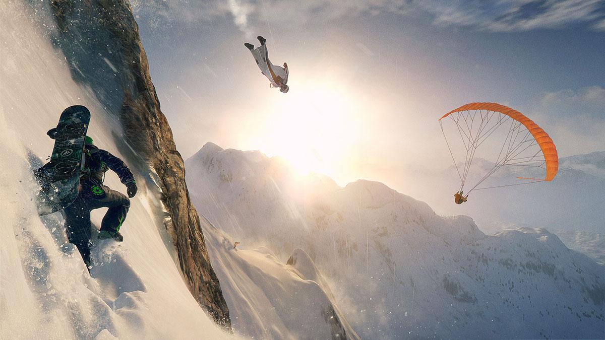 Steep - Fliege mit einem Wingsuit oder Paraglider, fahre Ski oder Snowboard