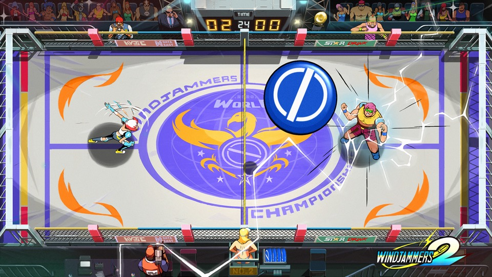 Windjammers 2 ist ein Kampf 1 gegen 1 bei dem man seine Würfe geschickt einsetzen muss.