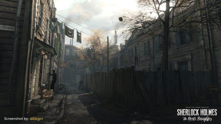 Eine dunkle Straße aus Sherlock Holmes the devils Daughter