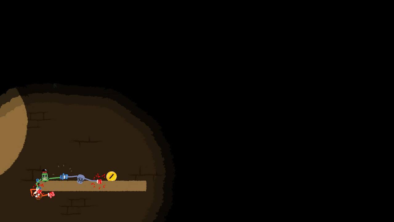 In einige Leveln wird nur ein kleiner Kreis um die Figuren beleuchtet